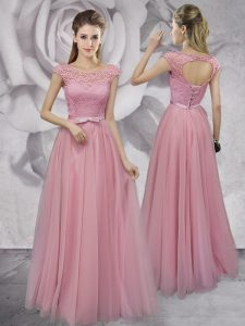 Elegant Scoop Pink Cap Sleeves Floor Length Lace and Ruching and Bowknot Lace Up Homecoming Gowns