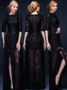 Romantic Scoop Black Half Sleeves Lace Zipper Homecoming Dresses for Prom