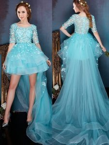 Sophisticated Square Aqua Blue Half Sleeves High Low Beading Zipper Homecoming Dresses