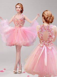 Mini Length Pink Hoco Dress Halter Top Sleeveless Backless