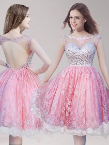 Scoop Lace Knee Length Backless Homecoming Dresses Pink And White for Prom and Party with Beading
