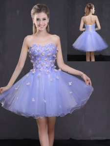 Excellent Sleeveless Mini Length Appliques Lace Up Hoco Dress with Lavender