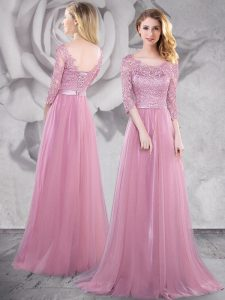 Pink Lace Up Scoop Lace and Ruching Homecoming Gowns Tulle Half Sleeves Brush Train