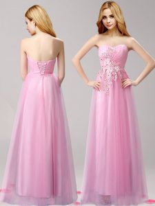 Rose Pink Tulle Lace Up Sweetheart Sleeveless Floor Length Junior Homecoming Dress Beading and Appliques