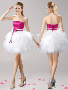 Exceptional Pink And White Lace Up Prom Homecoming Dress Ruffles and Bowknot Sleeveless Mini Length