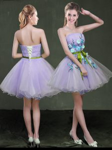 Lavender Prom Homecoming Dress Prom and Party with Appliques and Belt Strapless Sleeveless Lace Up