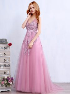 Hot Sale Pink Homecoming Dress Prom with Appliques and Belt V-neck Sleeveless Brush Train Backless
