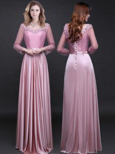 Elastic Woven Satin V-neck Long Sleeves Lace Up Appliques and Belt Prom Homecoming Dress in Pink