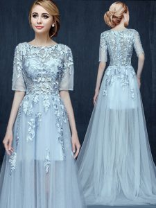 Scoop Light Blue Half Sleeves Brush Train Appliques With Train Junior Homecoming Dress
