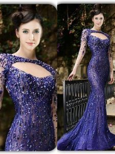 Mermaid Bateau Long Sleeves Homecoming Party Dress With Brush Train Beading Purple Tulle