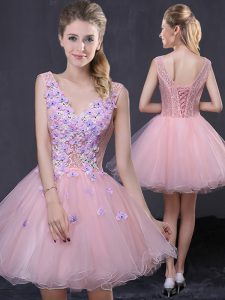 Pink A-line Organza V-neck Sleeveless Hand Made Flower Mini Length Lace Up Homecoming Party Dress