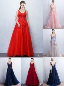 Fitting V-neck Sleeveless Tulle Homecoming Party Dress Appliques and Belt Brush Train Backless