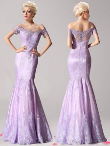 Vintage Mermaid Off the Shoulder Beading and Lace Homecoming Dress Online Lavender Zipper Short Sleeves Floor Length