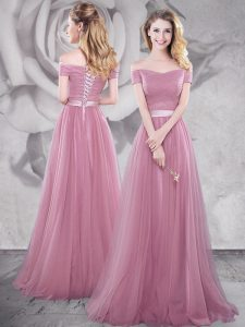 Custom Fit Off the Shoulder Pink Empire Ruching and Belt Prom Homecoming Dress Lace Up Tulle Short Sleeves With Train
