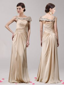 Sweet Champagne Asymmetric Side Zipper Beading Homecoming Party Dress Sleeveless