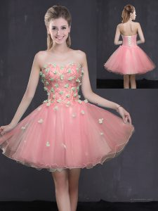 Vintage Pink Organza Lace Up Sweetheart Sleeveless Mini Length Hoco Dress Appliques