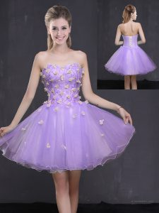 Edgy A-line Lavender Sweetheart Organza Sleeveless Mini Length Lace Up