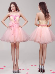 Inexpensive Appliques and Hand Made Flower Prom Homecoming Dress Pink Zipper Sleeveless Mini Length