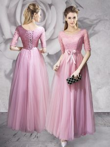 Floor Length Pink Homecoming Party Dress Scoop Half Sleeves Lace Up