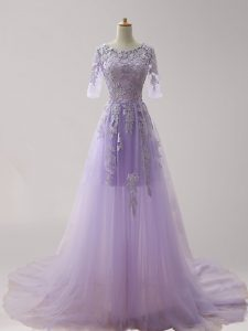 Scoop Half Sleeves Brush Train Zipper Homecoming Dress Online Lavender Tulle