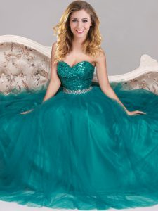 Cheap Peacock Green Empire Sweetheart Sleeveless Tulle Floor Length Zipper Sequins Junior Homecoming Dress