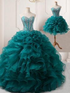 Best Selling Sweetheart Sleeveless Hoco Dress Floor Length Beading and Ruffles Peacock Green Organza