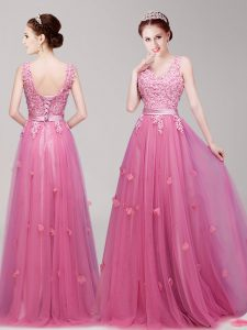 Tulle Sleeveless Floor Length Homecoming Dress Online and Appliques and Belt