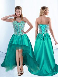Satin Sleeveless High Low Homecoming Gowns and Beading and Bowknot