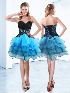 Fancy Ruffled Sweetheart Sleeveless Lace Up Homecoming Dresses Blue And Black Organza