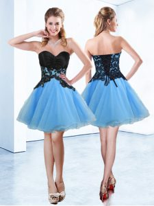 Sleeveless Mini Length Appliques Lace Up Homecoming Dresses with Blue And Black