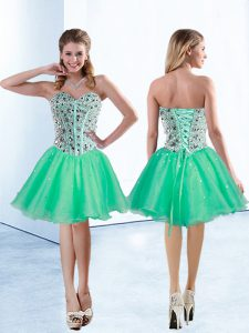 Turquoise Lace Up Junior Homecoming Dress Beading Sleeveless Knee Length