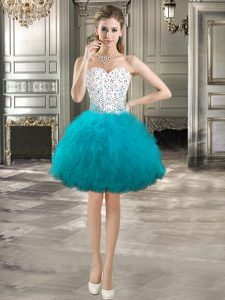 Fashion Beading and Ruffles Homecoming Party Dress Teal Lace Up Sleeveless Mini Length