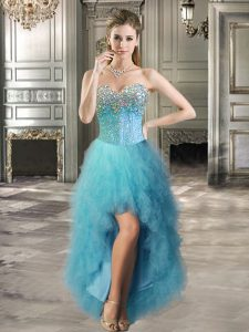 Teal Junior Homecoming Dress Prom and Party with Beading and Ruffles Sweetheart Sleeveless Lace Up