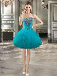 Mini Length Lace Up Teal for Prom and Party with Beading and Ruffles