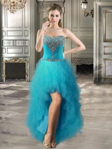 A-line Homecoming Dresses Teal Sweetheart Tulle Sleeveless High Low Lace Up
