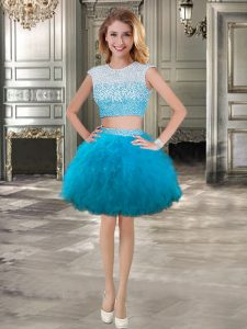 Best Ball Gowns Junior Homecoming Dress Teal Scoop Tulle Cap Sleeves Mini Length Lace Up