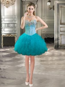 Teal Prom Homecoming Dress Prom and Party with Beading and Ruffles Sweetheart Sleeveless Lace Up